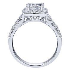 14k White Gold Diamond Halo Engagement Ring | Gabriel & Co NY | ER10907W44JJ