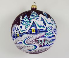 Snowy Village Christmas Ball Ornament