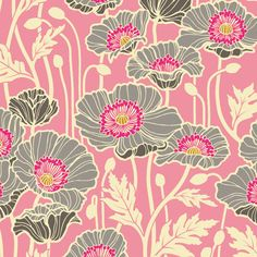 Sateen Pristine Poppy in Pink by Joel Dewberry for the Notting Hill Collection Pretty Patterns, Beautiful Patterns, Flower Patterns, Textile Patterns, Textile Prints, Textiles, Motif Floral, Floral Prints, Poppy Pattern