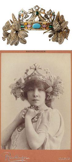 "Above: A crown for ""La Princesse Lointaine"" (in French, ""distant princess""). 1895. Design: Alphonse Mucha, Make: René Lalique. Bottom: Cabinet card image of actress Sarah Bernhardt (1844-1923) as ""La Princesse Lointaine"". Reutinger, Paris. Theatrical Cabinet Photographs of Women, circa 1897 http://www.linternaute.com/humour/dossier/07/drouot/3.shtml http://www.riedova.cz/trubaduri-pevci-nenaplnene-lasky-2/ http://magcul.net/event/lalique-museum-20150425/"