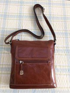 7efabb5c7ef94 (NWT) MSRP  108 Gianni Bernini Glazed Leather Crossbody Bag in Tobacco New  Price
