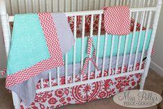 Custom Baby Crib Bedding Design Your Own by MissPollysPieceGoods Crib Bedding in Modern Basics Coral  #babybedding #cribbedding #coral #modernbabybedding