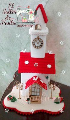 @ chiesetta natalizia,feltro,felt,pannolenci, Christmas Christmas Crafts, Christmas Decorations, Xmas, Christmas Ornaments, Holiday Decor, Diy Nativity, Diy And Crafts, Arts And Crafts, Felt House