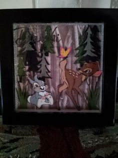 Bambi 3D shadow box using my  Cricut, and vinyl lettering on outside of glass
