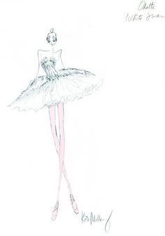 costume for Black Swan drawing by Rodarte