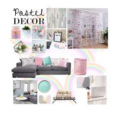 """Pastel decor"" by randompje on Polyvore featuring interior, interiors, interior design, thuis, home decor, interior decorating, Joules, Dena Home, Ted Baker en Grandin Road"