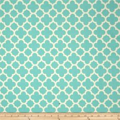 Riley Blake Home Decor Quatrefoil Aqua from @fabricdotcom  Screen printed on lightweight cotton duck; this versatile fabric is designed by Kellie Wulfsohn for Riley Blake Designs. Perfect for window accents (draperies, valances, curtains and swags), accent pillows, duvet covers and some upholstery projects. Create handbags, tote bags, aprons and more. Colors include ivory and aqua.