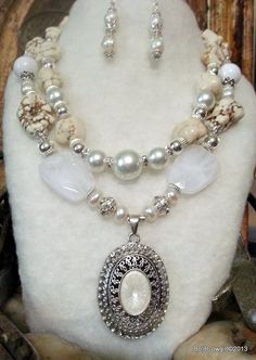 BOLD COWGIRL Wedding Statement Necklace Earrings 2PS Set Jewelry Freshwater Pearl Sterling Silver White Turquoise Howlite