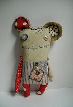 Elspeth Monster Mouse by JunkerJane. love it!! there are days when we all feel like this....cute funky and freaky kooky plushie doll toy want to cuddle him until his arm drops off then i'd lovingly sew it on again