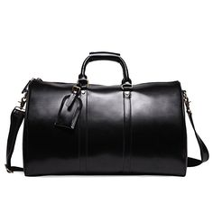 13a00104ce Leathario Mens Genuine Leather Overnight Travel Duffle Overnight Weekender  Bag Luggage Carry On Airplane Leather Overnight