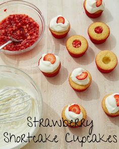 Strawberry Shortcake Cupcakes | Martha Stewart Living - Go the full eight minutes when creaming the butter and sugar -- it helps incorporate air and will give the cupcakes a light and fluffy texture.