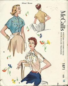 McCall's 1871 ©1954 Embroidered Blouse