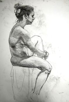 Live model drawings, in sketchbooks or large format.