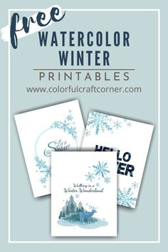 Dec 10, 2020 - Upgrade your gallery wall with these free winter printables wall art, designed with watercolored elements. They add a nice snowy touch to your Winter decor. Free Printable Art, Printable Paper, Free Printables, Free Art Prints, Color Crafts, Craft Corner, Diy Craft Projects, Winter Holidays, Christmas Printables