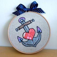 Anchor My Heart - Tattoo Style Embroidery Hoop. $25.00, via Etsy.