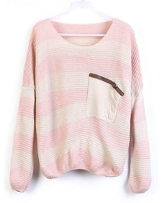 Pink Stripes Loose Sweater with Pocket ( color) style sweater393 in Indressme