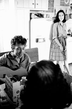 """Bob Dylan, Allen Ginsberg and Sally Grossman, who was married to Dylan's manager and would later grace the cover of """"Bringing It All Back Home"""""""