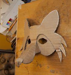Fox Mask Pre Decoration--Good start for a mask for Tom. Diy For Kids, Crafts For Kids, Arts And Crafts, Wolf Maske, Cardboard Mask, Fox Costume, Paper Art, Paper Crafts, Fox Mask