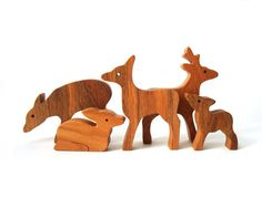 This large hand cut Waldorf wooden deer father, two deer mothers and two fawns will provide hours of imaginative fun for your little one.