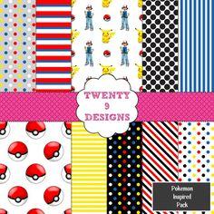 Pokemon Inspired Digital Paper Pack  INSTANT by Twenty9Designs, $4.00