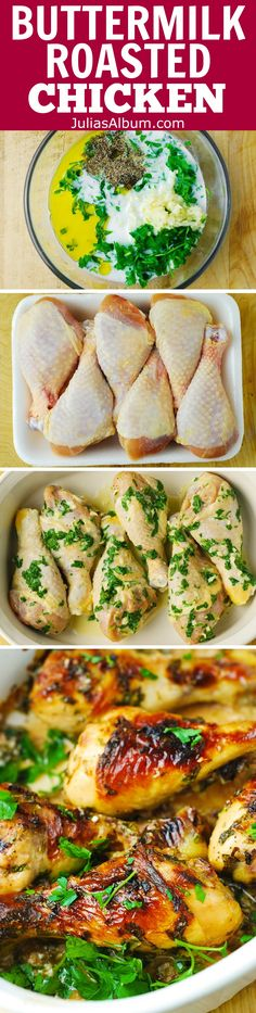 Buttermilk Marinated Chicken - A healthier way to cook chicken drumsticks that are moist, tender, and super flavorful!  Marinated in buttermilk, garlic, fresh parsley, salt and pepper for 24 hours before roasting to ensure the chicken tenderizes and gets infused with the delicious flavors!