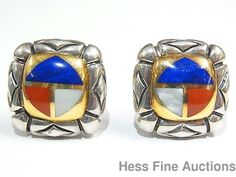 Designer Asch Grossbardt 18K Gold Sterling Silver Signed Inlaid Lapis Earrings