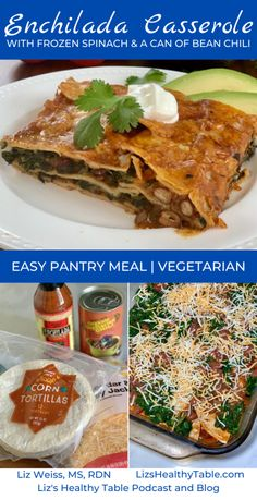 This vegetarian, veggie-filled recipe for Enchilada Casserole with Frozen Spinach and a Can of Bean Chili hits the spot. And it's a quick pantry meal! Best Vegetarian Recipes, Mexican Food Recipes, Dinner Recipes, Vegetarian Options, Mexican Dishes, Easy Enchilada Casserole, Enchilada Recipes, Frozen Spinach, No Bean Chili