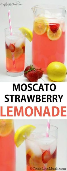 Moscato Strawberry Lemonade is so tasty and refreshing! It's a perfect summer drink for lounging by the pool or even a friendly get together! You'll love this! You can switch it up by using pink lemonade, or changing your flavor of vodka added to it! Refreshing Drinks, Summer Drinks, Fun Drinks, Healthy Drinks, Pool Drinks, Party Drinks, Mixed Drinks, Alcholic Drinks, Non Alcoholic Drinks