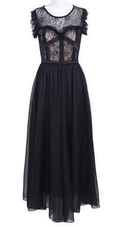 Black Sleeveless Lace Chiffon Full-Length Dress