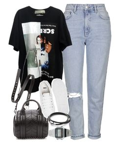 """Outfit for spring with boyfriend jeans and a black tee"" by ferned ❤ liked on Polyvore featuring Topshop, Acne Studios, Alexander Wang, ASOS and Casio"