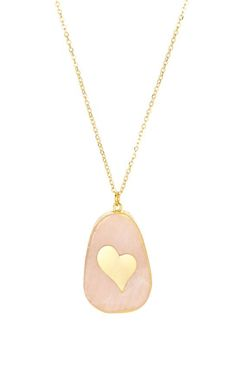 Rose Quartz & Goldtone Heart Pendant Necklace