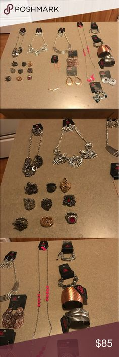 Jewelry lot New jewelry lot 5 necklaces 9 rings 4 earrings 4 bracelets retail $110 make offer want gone Jewelry Necklaces