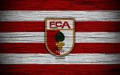 Download wallpapers Augsburg, 4k, Bundesliga, logo, Germany, wooden texture, FC Augsburg, soccer, football, Augsburg FC