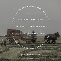 """""""For I know the plans I have for you,"""" declares the Lord, """"plans to prosper you and not to harm you, plans to give you hope and a future."""" - Jeremiah 29:11"""