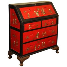 Red and Black Lacquer Bureau Chest of Drawers