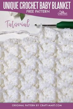 Unique Crochet Baby Blanket Pattern - learn this DIY crochet baby blanket pattern for your own heirloom baby blanket! Made with easy 3-D clusters, this unique crochet cluster stitch is as beautiful as it is easy. You can use color blocks or single color yarn for several crochet baby blanket patterns. #uniquecrochetpattern #uniquecrochetbabyblanketpattern #crochetbabyblanketpattern Crochet Baby Blanket Free Pattern, Baby Afghan Patterns, Baby Afghans, Crochet Afghans, Crochet Blankets, Baby Blankets, Crochet Stitches, Unique Crochet, Diy Crochet