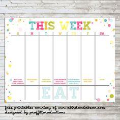 colorful weekly calendar free printable - Free Weekly Calendar Template