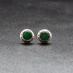 Emerald Stud Earrings, Men/Women Sterling Silver Small Studs with Natural Green Emerald Gemstone, May Birthstone Emerald Studs, MensJewelry Mens Gold Bracelets, Mens Gold Jewelry, Silver Jewelry, Gold Jewellery, Silver Rings, Simple Earrings, Stud Earrings, Earring Studs, Sterling Silver Earrings Studs