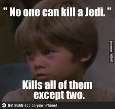 he was so innocent........but although he turned TO THE DARK SIDE I still like him as darth vador! Han Solo is my number one fave character but darth vador comes second!!! :)