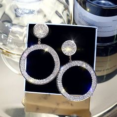 Online Shop FYUAN Fashion Shining Circle Drop Earrings Precision Inlay Gold Silver Color Rhinestone Earrings for Women Wedding Party Jewelry Silver Drop Earrings, Rhinestone Earrings, Crystal Rhinestone, Silver Jewelry, Ear Jewelry, Crystal Drop, Jewelry Shop, Circle Earrings, Cute Earrings