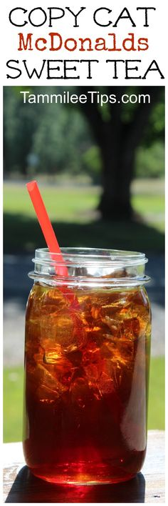 Copycat McDonalds Sweet Tea recipe you can make at home!  The perfect way to enjoy an afternoon at home. This easy copy cat recipe is delicious!