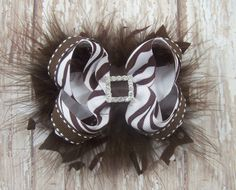 Brown+Zebra+Bow+Stacked+Fluffy+Boutique+Bow+with+by+darlindivas,+$7.99