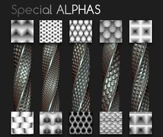 Pack of 10 Tileables Alphas (1024x1024px), abstract, scales and weave effects. Enjoy!
