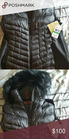 NWT MICHAEL KORS BLACK VEST SIZE LARGE Gorgeous brand new with tags Michael Kors down vest with detachable fur hood. Michael Kors Jackets & Coats Vests