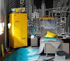 Deco chambre ado garcon gris et bleu en rouge fondatoriiinfo foot . Teen Bedroom, Bedroom Decor, Bedroom Ideas, Deco New York, Design Room, Interior Design, Room Interior, Teenage Beds, Diy Zimmer