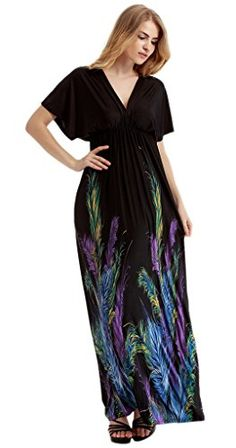 Smile YKK Women Plus Size Beach Maxi V Neck Short Sleeve Long Dress Feather XL. Material: Milk Silk. Asia Size: M: Bust 88cm Length 140cm; L: Bust 95cm Length 140cm; XL: Bust 102cm Length 140cm; 2XL: Bust 112cm Length 140cm; 3XL: Bust 122cm Length 140cm. 4XL: Bust 132cm Length 140cm; 5XL: Bust 142cm Length 140cm; 6XL: Bust 152cm Length 140cm; 7XL: Bust 162cm Length 140cm. Ruffled bust and v neck in front and back. Classic design and suitable for any figures of people.