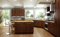 Kitchen remodel with dark oak cabinets with bamboo flooring Better contrast but still lacks light