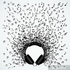 Illustration of Dj vinyl record music notes splash illustration. vector art, clipart and stock vectors. Music Drawings, Music Artwork, Art Music, Musik Illustration, Tattoo Noten, Music Notes Art, Music Tattoos, Love Music Tattoo, Music Wallpaper