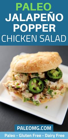 Why eat a normal chicken salad sandwich when you could have a jalapeño popper chicken Jalapeno Poppers, Jalapeno Popper Chicken, Lunch Recipes, Paleo Recipes, Dinner Recipes, Paleo Food, Paleo Meal Prep, Paleo Dinner, Paleo Chicken Salad