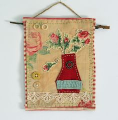 Textile art collage - Vase with roses hanging fabric art piece by…